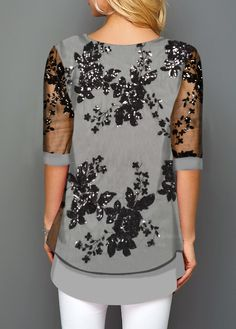 Button Detail Lace Panel Layered Hem T ShirtYou can find Lace and more on our website.Button Detail Lace Panel Layered Hem T Shirt Trendy Tops For Women, T Shirts For Women, Mode Hijab, Outfit Sets, Blouse Designs, Ideias Fashion, Lace Detail, Clothes, Kaftan