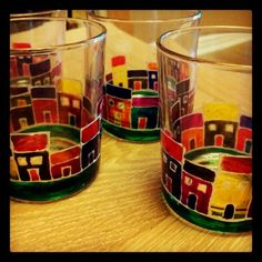 Painted glass tumblers