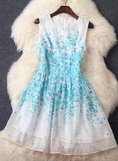 Luxury 3D Flowers Sleeveless Dress