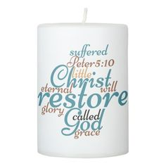 Christian CHRIST WILL RESTORE YOU Pillar Candle #klucreations #goodgiftsfromabove #christiancandle #beintentional https://www.zazzle.com/christian_christ_will_restore_you_pillar_candle-256144656610106264