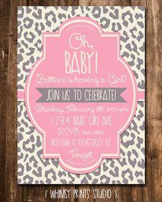 Baby Girl Shower Invitation Pink Grey Leopard Cheetah Baby Shower Invite Digital Printable Party Invite 25