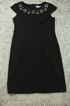 Dress Barn Dress Womens Size 6 Black Cap Sleeve with Metal Circle Open Holes