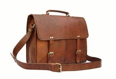 Handmade15 inch Twin Pocket Leather Messenger Bag / Satchel / Laptop Bag / MacBook Bag / Shoulder Bag - Vintage Retro Look sur Etsy, 75,93 €