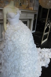 Coffee filter dress that I made for The English Market's window.