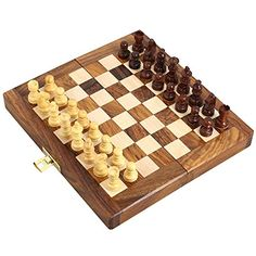 SET OF 12  Handcrafted Wooden Folding Magnetic Chess Set  Wood Travel Games  7 x 35  Great Gifts for Kids and Adults ** Read more  at the image link.