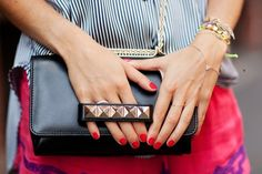 Studded clutch / Valentino  Love the strap feature!