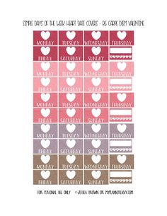 Free Printable Simple Days of the Week Heart Date Covers for the Reset Girl Carpe Diem Inserts Page 7 of 7 from myplannerenvy.com. Also available with a Circle instead of a Heart.