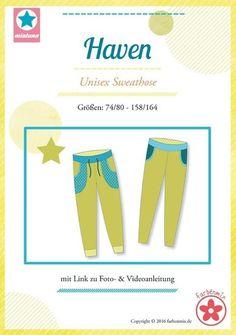 Haven, patroon van een smalle joggingbroek voor jongens en meisjes in de maten 74/80 -158/164-kleurenmix