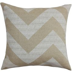Eir Zigzag Brown Natural Feather Filled 18-inch Throw Pillow  $44.99  overstock.com