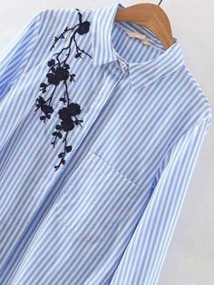 Blouse asymétrique à rayures avec broderie - bleu -French SheIn(Sheinside)