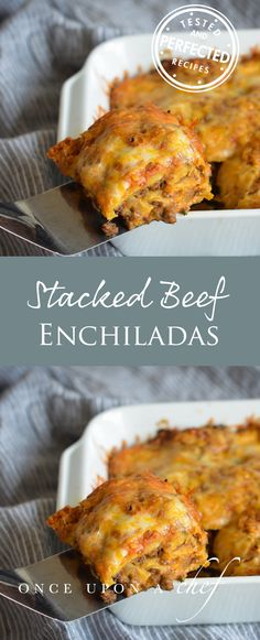Stacked Beef Enchiladas Aka Mexican Lasagna With Layers Of Corn Tortillas, Spicy Ground Beef, Roasted Tomato Salsa, And Cheese, Its A Cross Between Traditional Rolled Enchiladas And Lasagna Yet Easier To Make Than Both. Its A Great Make-Ahead Dish F Enchilada Casserole Beef, Casserole Recipes, Pastas Recipes, Cooking Recipes, Recipes Dinner, Diet Recipes, Healthy Recipes, Carnitas, Mexican Dishes