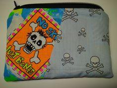 Neon Skulls Patchwork Zipper Pouch