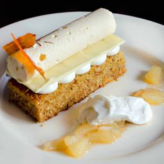 This deconstructed carrot cake is exquisite, elegant, and combines a classic carrot cake with a saffron cremeux and yogurt mousse.