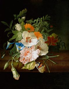 'Posy of flowers, with a red admiral butterfly, on a marble ledge', c. 1700, by Rachel Ruysch. Private collection; source, Wikimedia Art Floral, Dutch Still Life, Still Life Art, Rembrandt, Still Life Flowers, Dutch Golden Age, Kunst Poster, Painter Artist, Painting Still Life