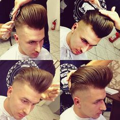 nice 25 Fabulous Pompadour Haircut For Men - Beautiful Ideas Slick Hairstyles, Classic Hairstyles, Hairstyles Haircuts, Medium Hairstyles, Wedding Hairstyles, Cool Haircuts, Haircuts For Men, Barber Haircuts, Brylcreem Hairstyles