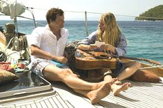 Colin #Firth and Amanda #Seyfried aboard the yacht in #MammaMia! Favorite scene