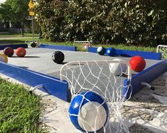 Field Day Games For Kids Discover SoccerPool game (Blue)! Backyard Playground, Backyard For Kids, Backyard Games, Natural Playground, Backyard Ideas, Backyard Sports, Backyard Layout, Outdoor Toys, Outdoor Games