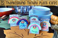 Thanksgiving kids craft turkey place cards