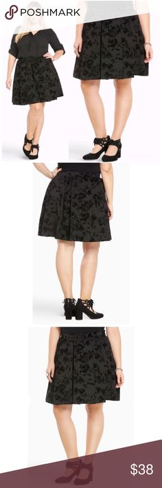 Stunning Burnout Velvet Pleated Skater Skirt NWT Stunning Black Burnout Velvet Pleated Skater Skirt, Plus Size 2X, Polyester & Spandex.  The Sheeny Black Sateen Style Skater Skirt has a Burnout Velvet Floral Design & is Beautifully Pleated. The Perfect Skirt for this Fall/Winter torrid Skirts