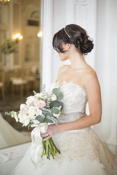 Gold lace wedding gown, ball gown, princess dress, taupe, strapless, tulle
