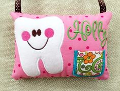 Girl's Personalized Tooth Fairy Pillow: Pink Polkadot Pillow with Floral Pockets