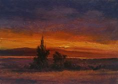"""SOLD-""""Notes and Brushstrokes 2014 #10"""" oil 5x7 by Dix Baines -Beautiful Colorado Sunset."""