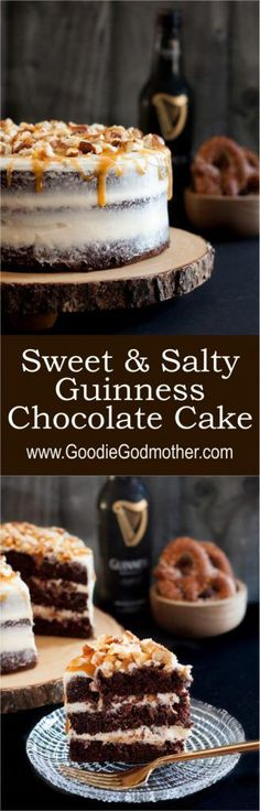 """Quite possibly the ultimate """"man cake"""" - this Sweet and Salty Guinness Chocolate Cake is everything. * Recipe on http://GoodieGodmother.com"""