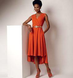 Sleek mock-wrap dress sewing pattern from Butterick. Shaped high-low hem. B6204, Misses' Dress