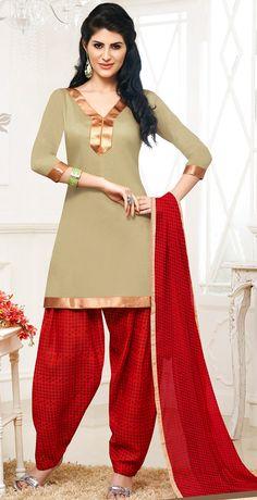 USD 20.13 Beige Cotton Patiala Salwar Kameez 43464