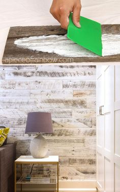Easy tutorial & video on how to whitewash wood to create beautiful farmhouse white washed floor shiplap wall & furniture on pine pallet or reclaimed wood! A Piece of Rainbow DIY home decor ideas Vintage shabby chic Easy tutorial Diy Bed Frame Plans, Diy King Bed Frame, Bed Frame And Headboard, Wood Headboard, Distressed Wood Furniture, Pallet Furniture, Whitewash Wood, Wood Beds, Ship Lap Walls
