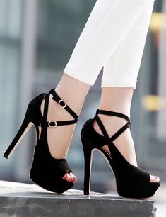 Stiletto High Heels Belt Buckle Peep Toe Shoes Sandals