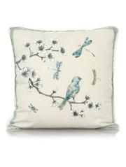 George Home Bird & Dragonfly Lace Trim Cushion  43x43cm