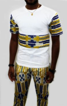 Afficher l'image d'origine African Attire For Men, African Print Fashion, African Wear, African Shirts, African Print Dresses, African Dress, Cool Shirts, T Shirts, Afro Men