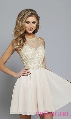 Short Illusion Sweetheart Homecoming Dress by Faviana at PromGirl.com