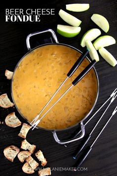 This Beer Cheese Fondue makes for a perfect game day appetizer. Yourfavorite beer, cheddar cheese and onion come together in thisperfect, melty dipping sauce.