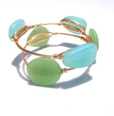 Bangle gold bauble Aqua & Seafoam Down By The Sea di LuELsDecor, $12.99