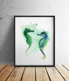 Watercolor Painting Giclee Art Print Sea Horse by ColorWatercolor