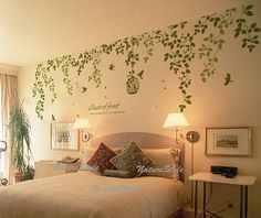 Beautiful Flowers with Flying Birds and Birdscage-Vinyl Wall Decal vinyl vine wall sticker birdcage birds wall decor nursery decor. $59.00, via Etsy.