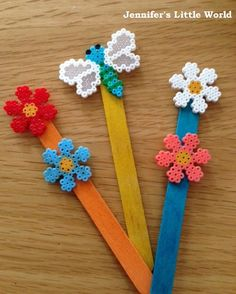Mini Hama bead decorative plant markers for the garden