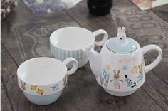 Zakka creative cartoon rabbit couples coffee kettele and mugs ceramic three-piece tea set with stainless steel filter