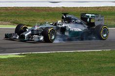Lewis Hamilton (GBR) Mercedes AMG F1 W05 locks up his front wheel. Formula One World Championship, Rd10, German Grand Prix, Practice, Hockenheim, Germany, Friday 18 July 2014.