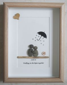 Pebble Art framed Picture Love is walking in the Rain