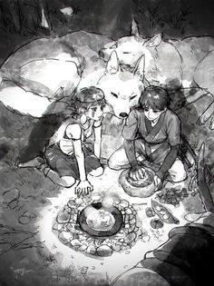 Princess Mononoke, Old Cartoons, Studio Ghibli, Artwork, Painting, Fictional Characters, Drawings, Work Of Art, Auguste Rodin Artwork