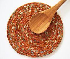 FABRIC COIL TRIVET  Rust Batik Trivet  Handmade by Jambearies