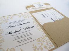 Rustic Wedding Invitation Pocketfold  Suite by JutingDesignStudio, $1.75