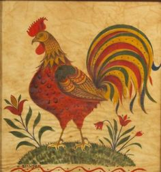 *Favorite*   DAVID Y. ELLINGER  ROOSTER THEOREM  1913 Paint on velvet, 13 3/4 x 13 in. PENNSYLVANIA http://www.skinnerinc.com/asp/fullCatalogue.asp?salelot=2337+++++407+&refno=++670961