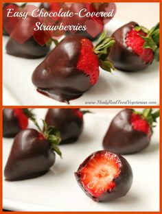 Easy & Healthy Chocolate Covered Strawberries - Healy Eats Real #chocolate #healthy #valentines