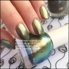 HM Nail Polish Green as Gold over Smoky Loden_HM Beauty Nail Swatches 2015