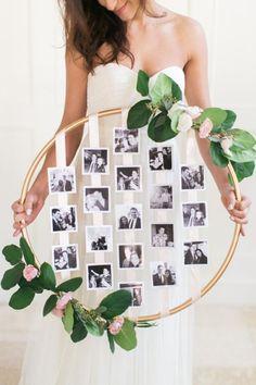 cerceau hula hoop décoré de fleurs et photos déco mariage #decoration #art