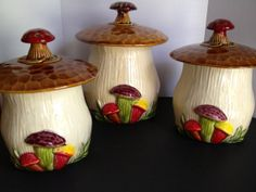 Vintage McCoy Pottery Ceramic Mushroom Toadstool Canister Set